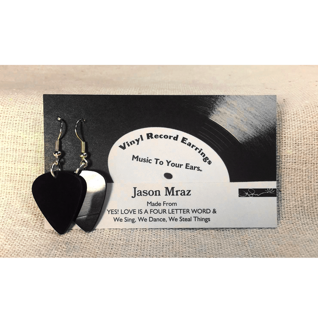 Vinyl Record Earrings (Black) - Jason Mraz  - 1