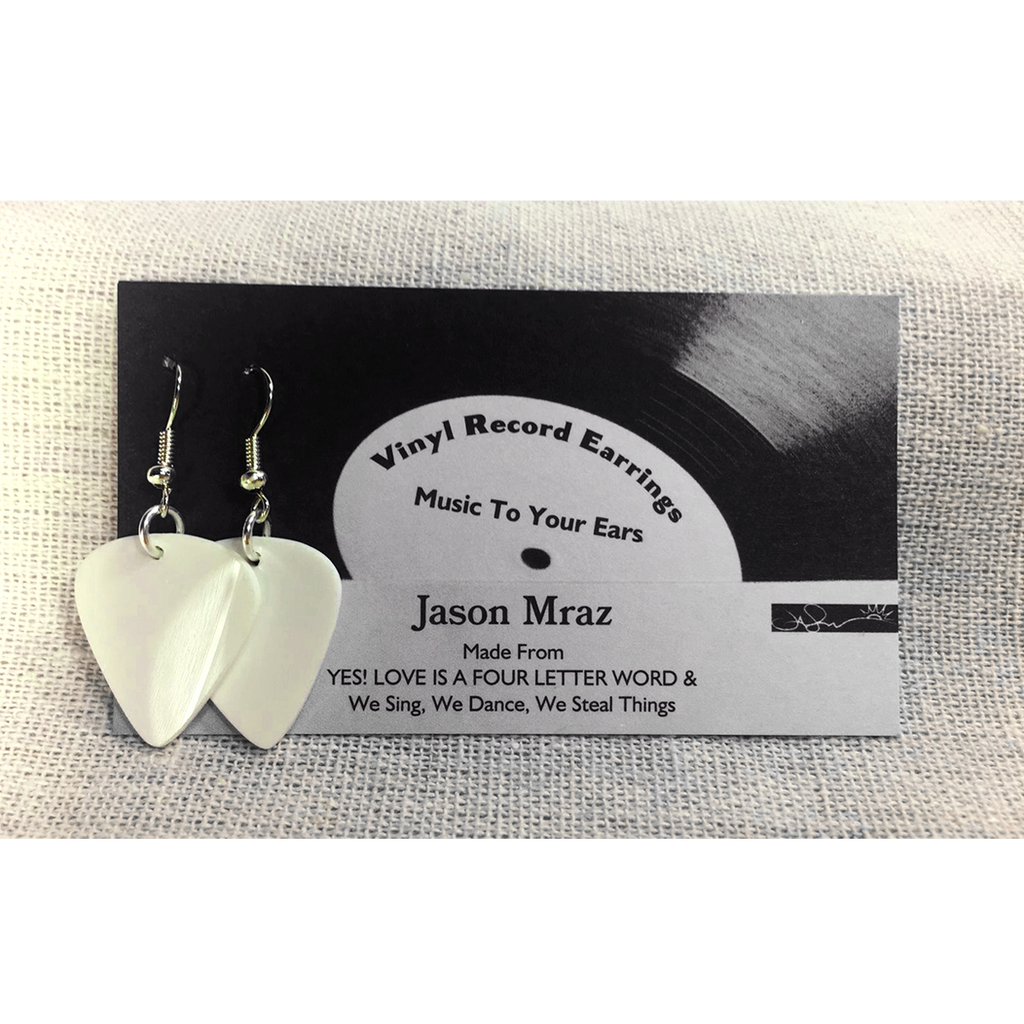 Vinyl Record Earrings (White) - Jason Mraz  - 1