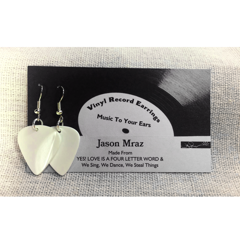 Vinyl Record Earrings (White)