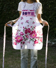Love Pink Flower Apron