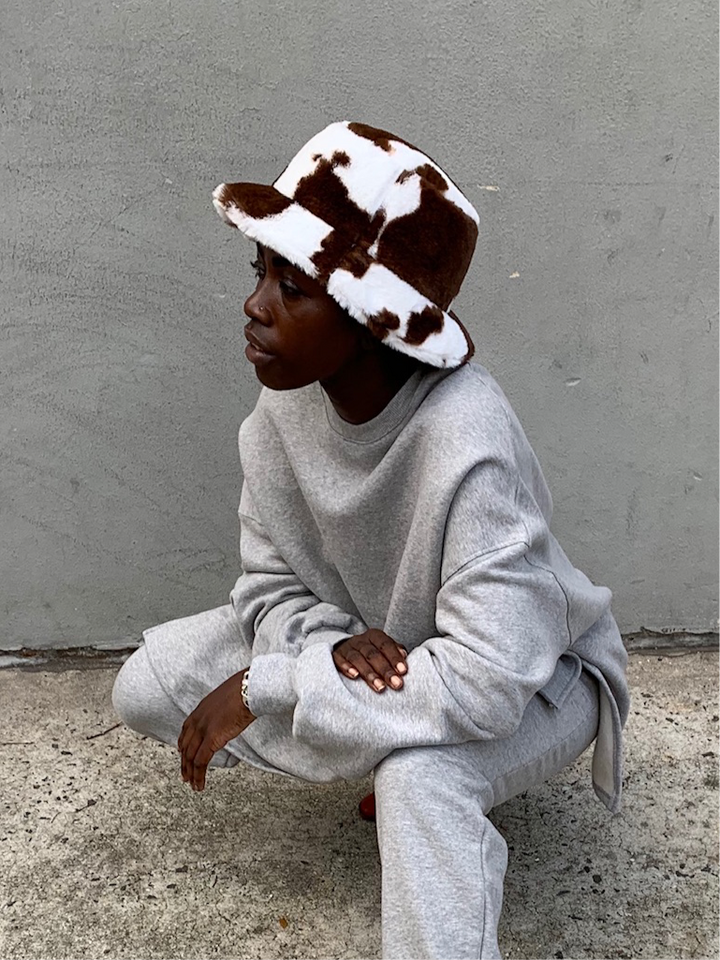 Cow Bucket Hat Brown