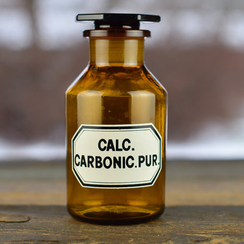 1930's - 1940's Apothecary Jar with Latin Label CALC. CARBONIC. PUR. and Hexagon Stopper