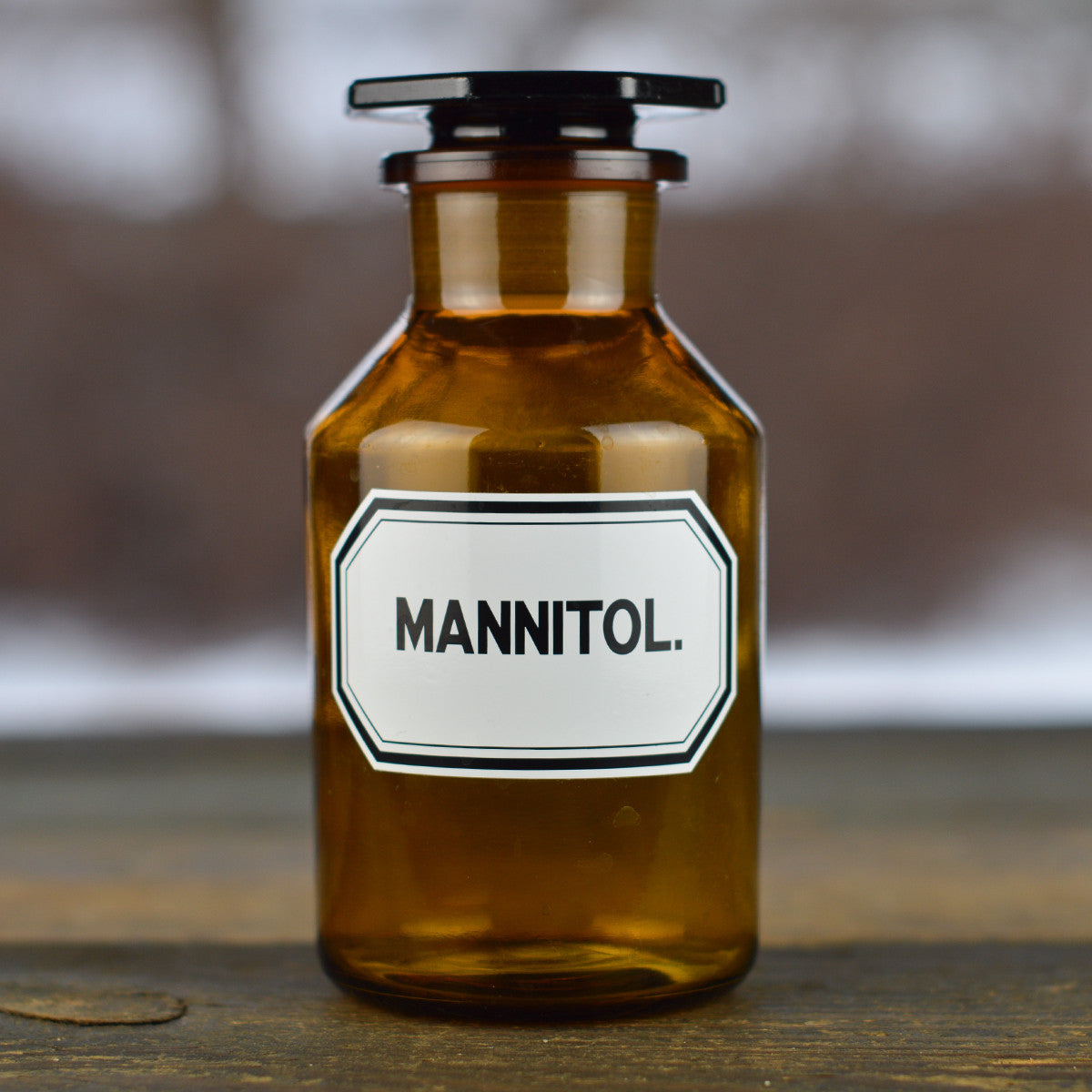 Vintage 1930's - 1940's Apothecary Jar with Latin Label MANNITOL. and Hexagon Stopper