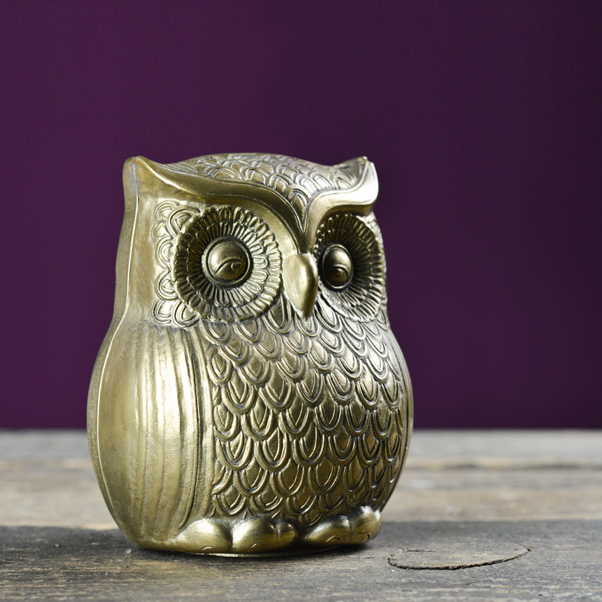Vintage Cast Brass Owl Money Box