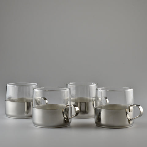 Mid Century X4 Tea Glasses with Aluminium Holders