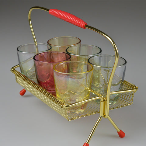1950's X6 'Rockabilly' Shot Glasses and Caddy Rack