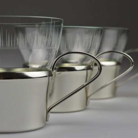 1950's X6 Tea Glasses with Aluminium Holders