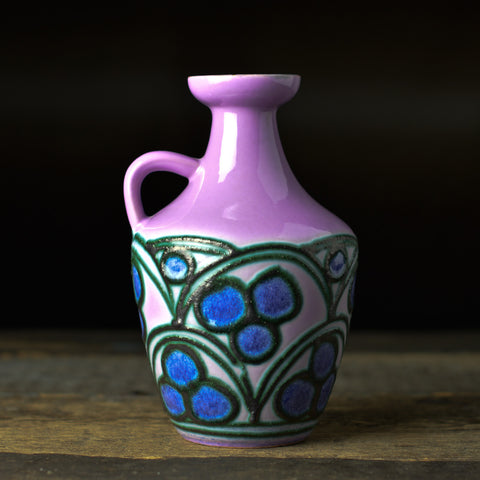 Mid Century 'Vine' Fat Lava Vase with a Handle