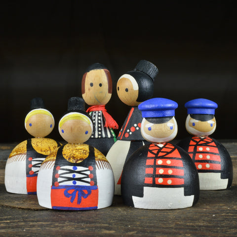 1960's Traditional German Folk Wooden Dolls