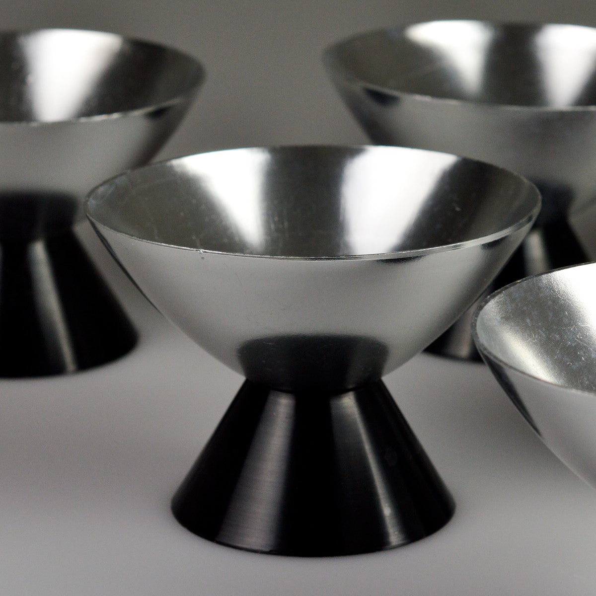 1960's Mid Century X6 Aluminium Ice Cream Serving Bowls