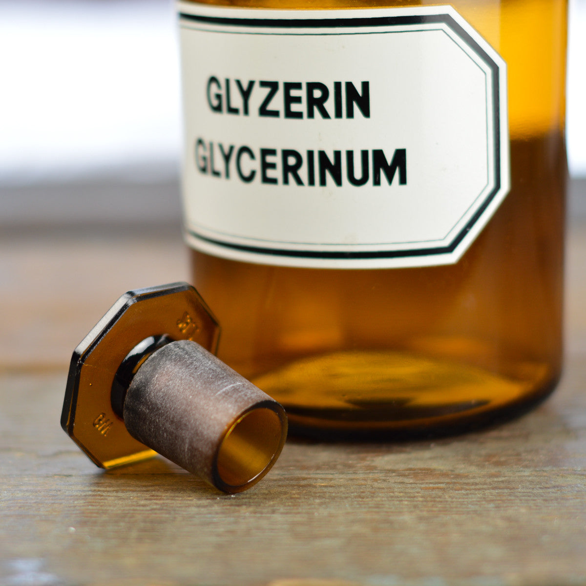 Vintage 1930's - 1940's Apothecary Jar with Latin Label GLYZERIN GLYCERINUM and Hexagon Stopper
