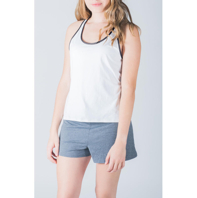 Racer Tank White/Grey Trim