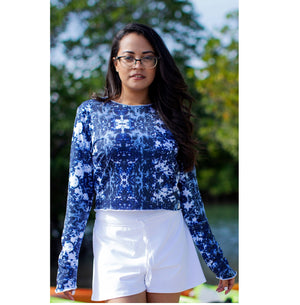 Crop Top-Hand and Neck Sun  Protector - Tie Dye Navy
