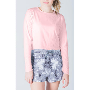 Crop Top-Hand and Neck Sun Protector - Light Pink