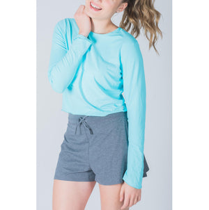 Crop Top-Hand and Neck Sun  Protector - Air Blue