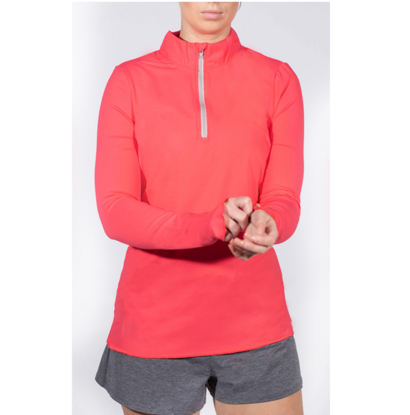 Sun Protector Half Zip Tunic - Coral removed inventory