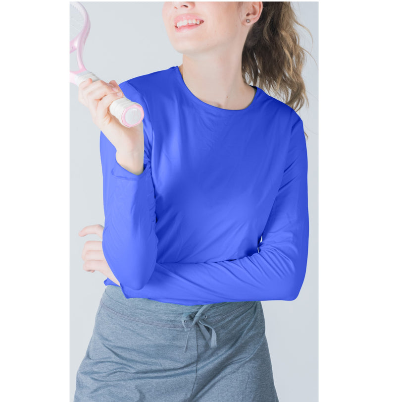 Crop Top-Hand and Neck Sun  Protector - Lapis Blue -