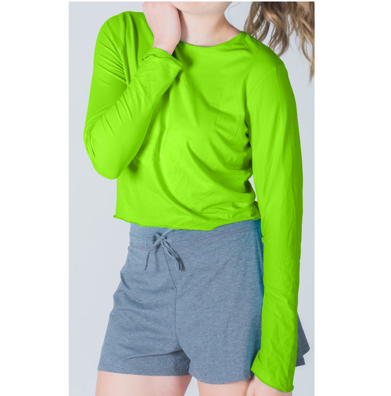 Crop Top-Hand and Neck Sun  Protector - Neon Green