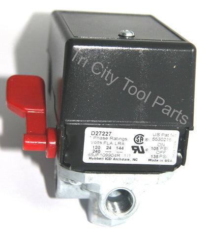 5140117-70 Air Compressor Pressure Switch  Craftsman  Devilbiss  Porter Cable