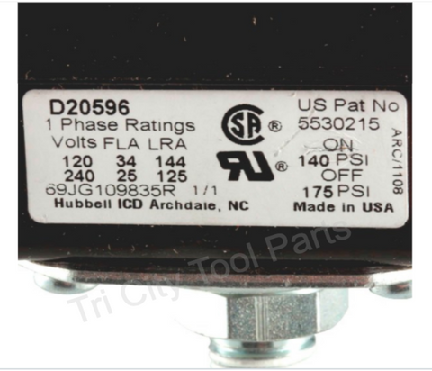 5140110-49 Porter Cable Air Compressor Pressure Switch 175/140 PSI  Craftsman