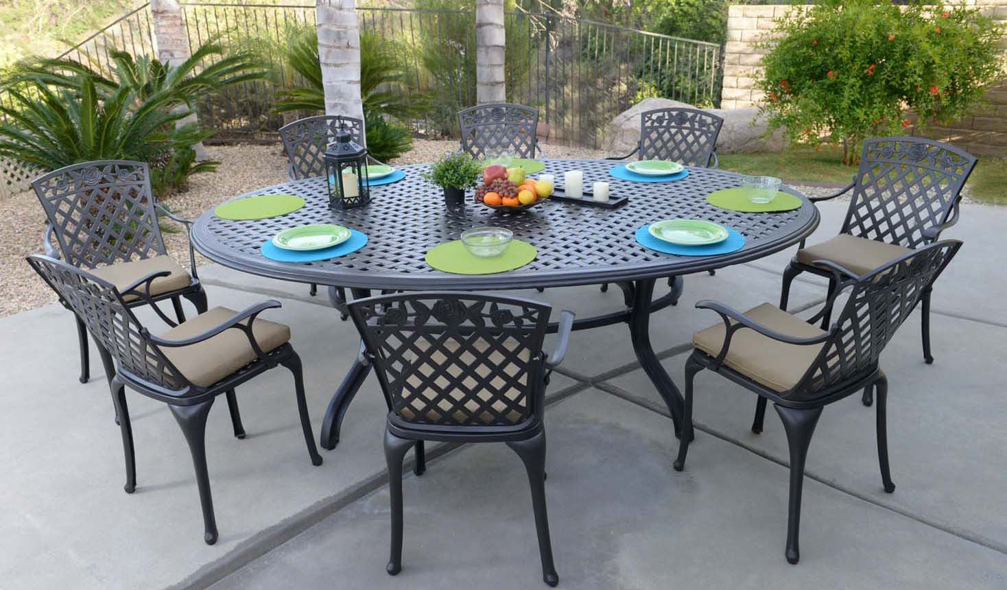 CAST ALUMINUM PATIO TABLES AND CHAIRS