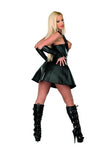 Black Leather Open Breast Cincher Dress
