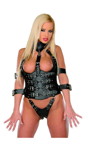 Black Leather Harness, Adjustable Collar, Arm Restraints