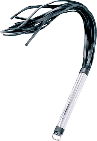 Black Leather Flogger, Smooth Metal Handle