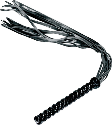 Black Leather Flogger, Ridged Handle