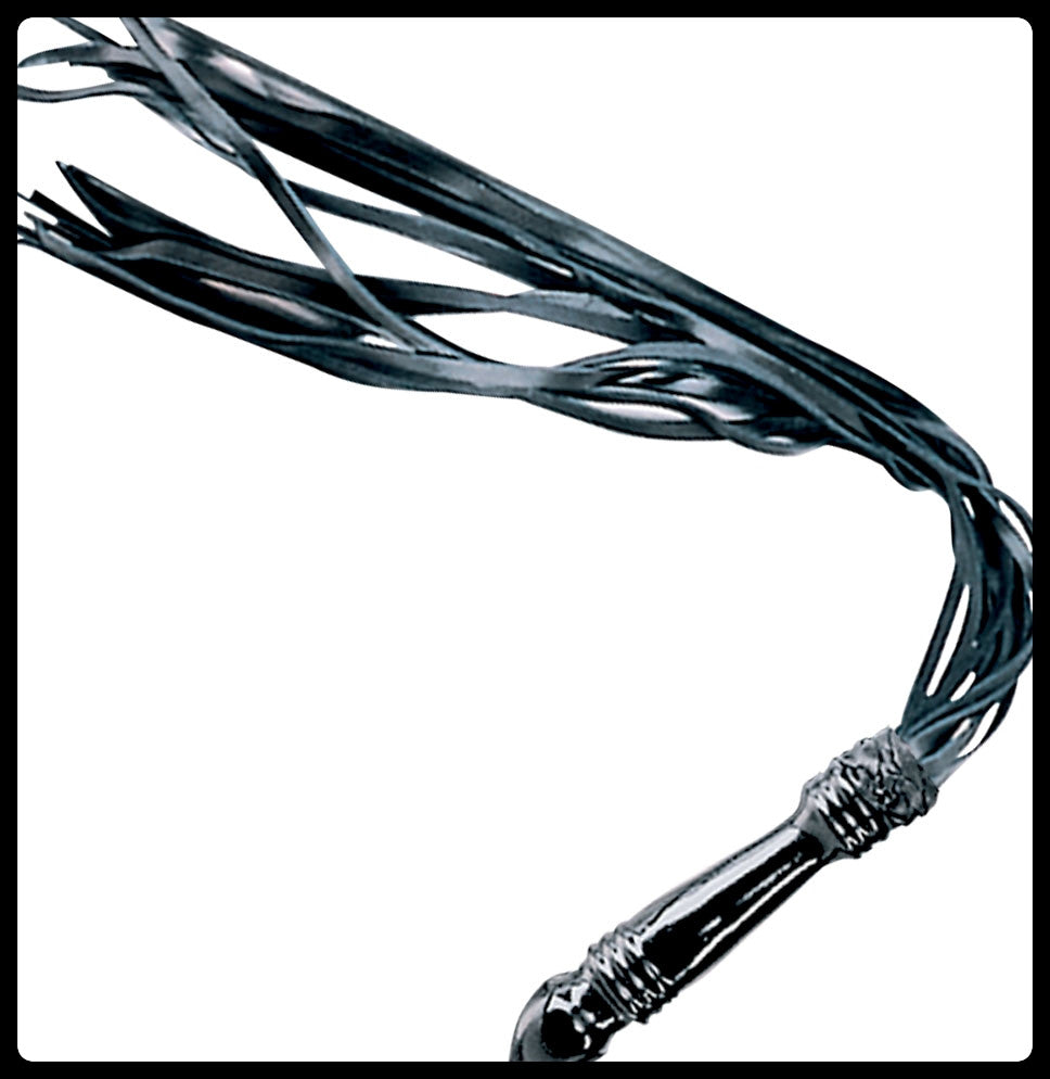 Black Leather Flogger, Smothed & Shaped Latex Handle