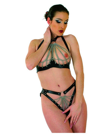 Halter Style Leather Bra & Panty Set, Chains, Open Breasts