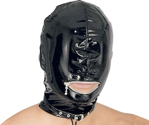 PVC Wet Look Zipper Mouth Hood