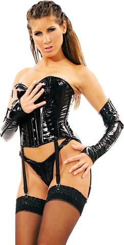 Black PVC Corset w/Front Buckles, Lace Up Back, Garters