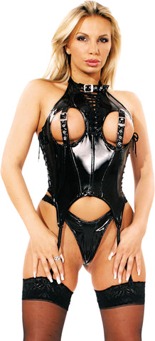 PVC Corset, Zipper Back, Open Buckled Bust, Lace Up Neck