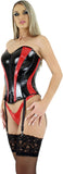 PVC Corset, Zipper Front, Lace Up Back, Sweetheart Neckline, Garters