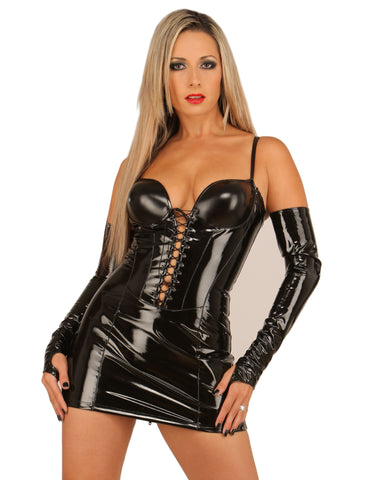 PVC Minidress, Spaghetti Straps, Molded Cups, Lace Up Front