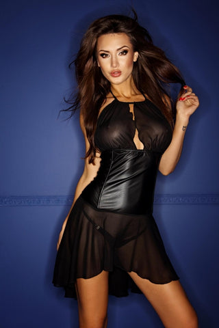 Mini Flared Tulle Dress with Wetlook Application
