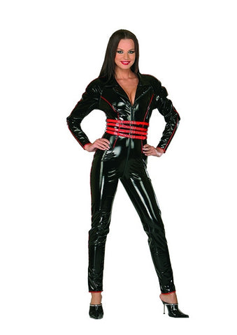 Black PVC Bodysuit with Red Piping & Buckles