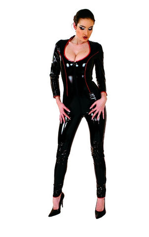 PVC Body Suit, Black w/ Red Piping, Zipper Front