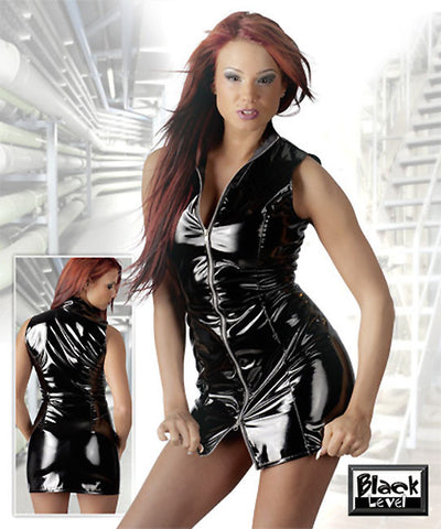 PVC Dress, High Collar, Zipper Front, Sleeveless