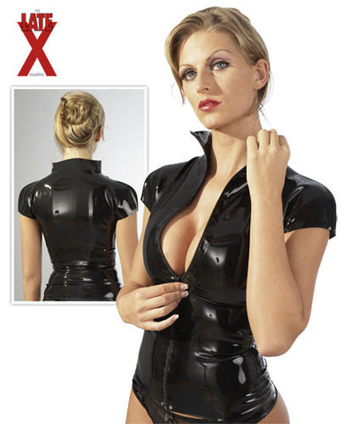 Latex Top, Short Sleeved, Collar & Zipper