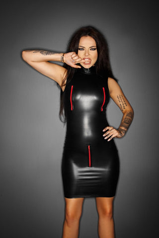 Wetlook Mini Dress with Four-Way Zippers