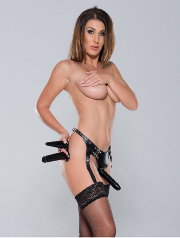 Leather harness with garters and 3 pieces