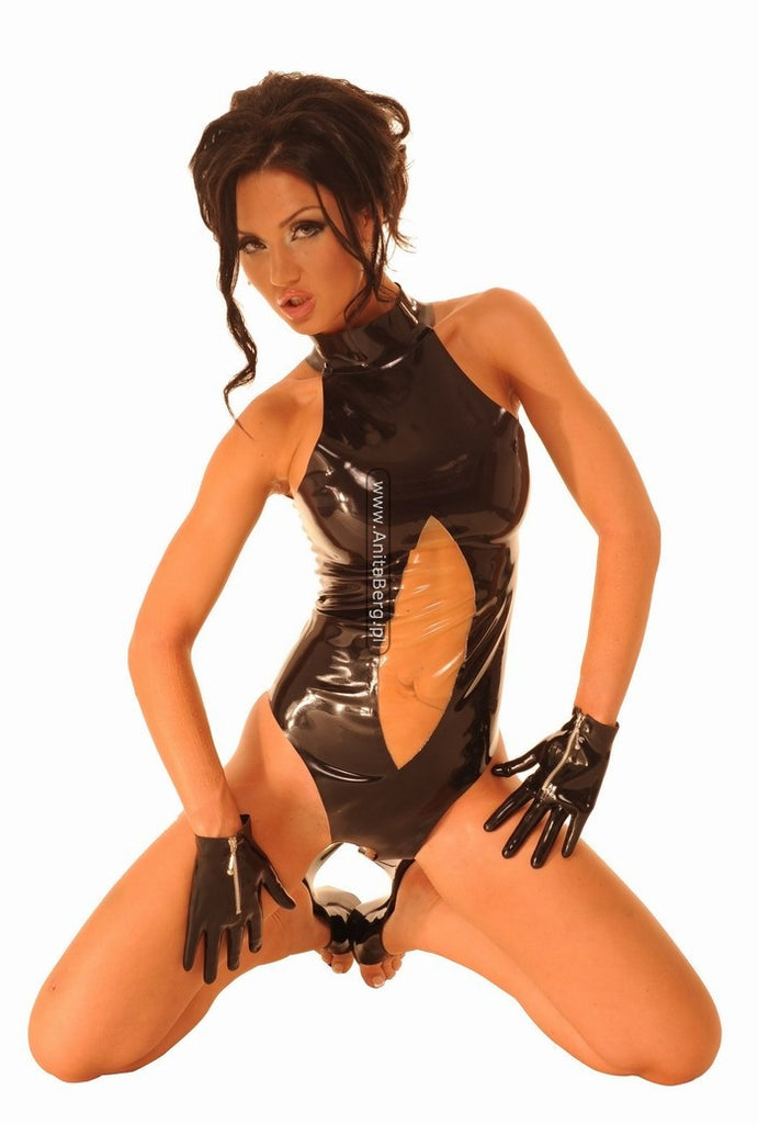 Latex Teddy, Open Crotch, Two Colors, Zipper