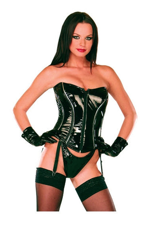 Black PVC w/Front Zipper, Lace Up Back & Garters