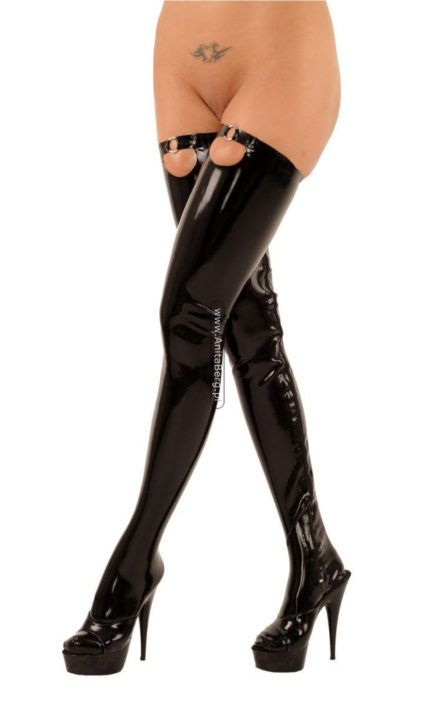 Thigh High Stockings with Metal Accent