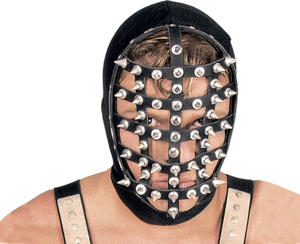 Leather Strap Cage Mask with Metal Spikes