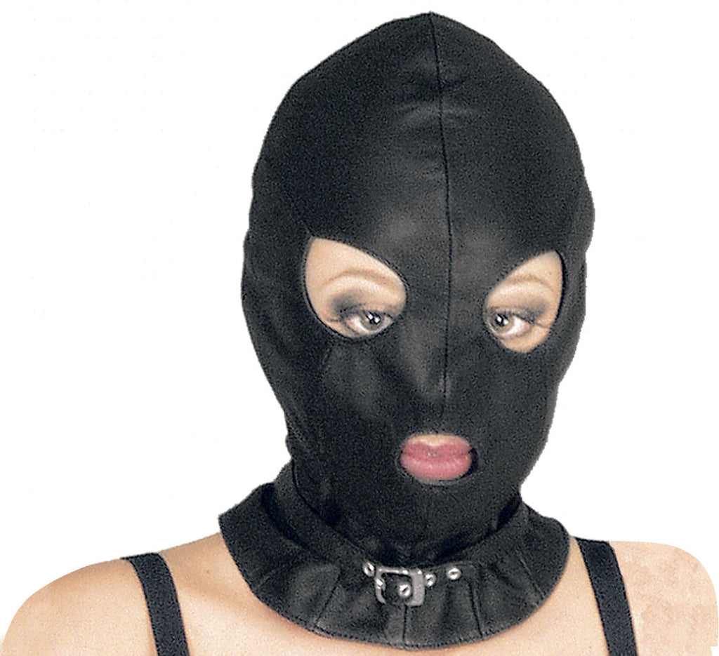 Leather Basic Hood with Round Eyes & Mouth, Buckled Neck