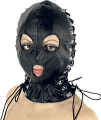 Leather Mask, Basic Hood with Round Eyes & Mouth, Laceup Sides