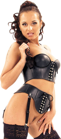 Leather Top, Adjustable Strap, Lace Up Front & Back, Molded Cups